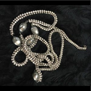 Vntg rhinestone bling flapper style rope necklace